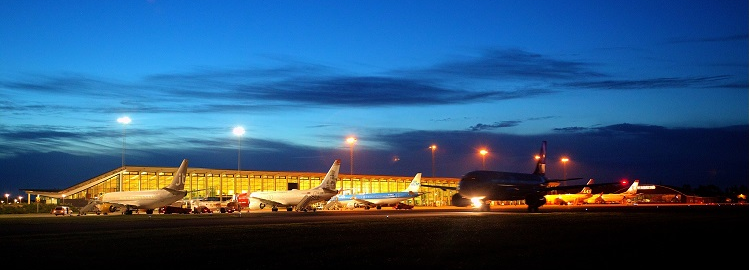 Aalborg Airport at night
